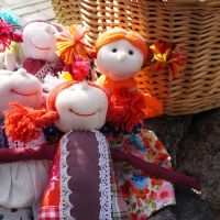 Wool, cloth and beads. Pippi Longstockings.